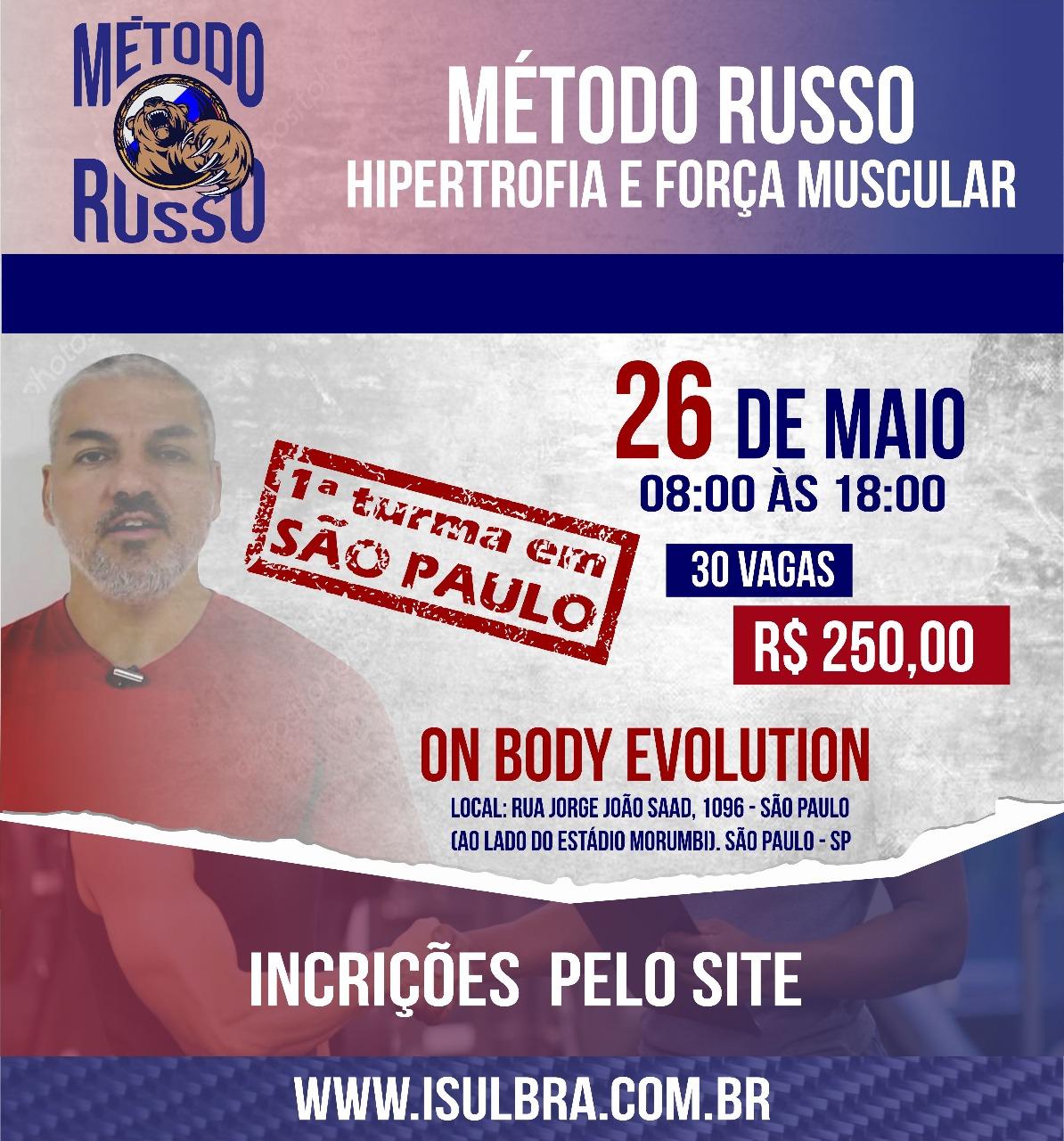 Curso para Método Russo para treinamento de força e hipertrofia - São Paulo